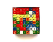 Math in Living Color - Vintage Wooden Colored Dice With Numbers and Symbols