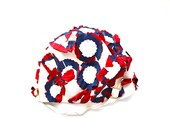 Swimming Pools and Fireworks - Vintage Red, White, and Blue Flowered Patriotic Rubber Swim Cap