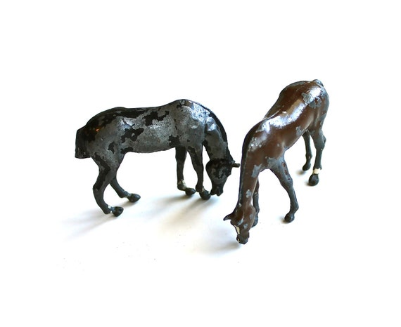 Grazing is Great - Vintage Pair of Lead Horses Made in England