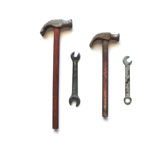 Daddy's Tools - Vintage Miniature Wooden Hammers and Tiny Wrenches