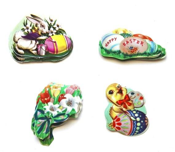 Flowers, Eggs, and Bunnies - Vintage Easter Die Cuts and Gummed Seals