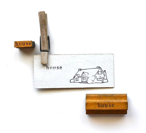House is The Word - Vintage Stamp - Wooden Mounted Stamp and Matching Image