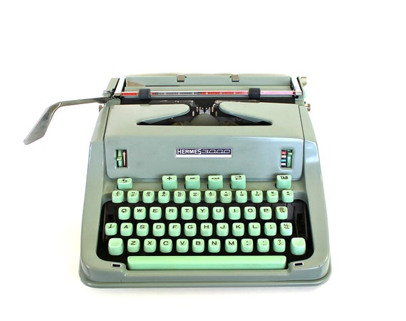 Reserved for Cara - Mint Green Typing - Vintage Hermes 3000 Swiss Made Typewriter