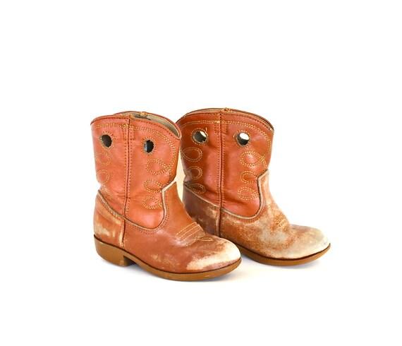 Little Cowboy - Vintage Children's Worn In Leather Cowboy Boots