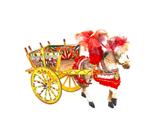 Fabulous and Feathered - Vintage Feathered Horse and Cart Made in Italy