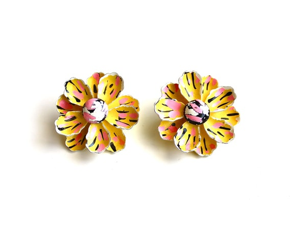 Rock the Neon - Vintage Enamel Clip on Flower Earrings