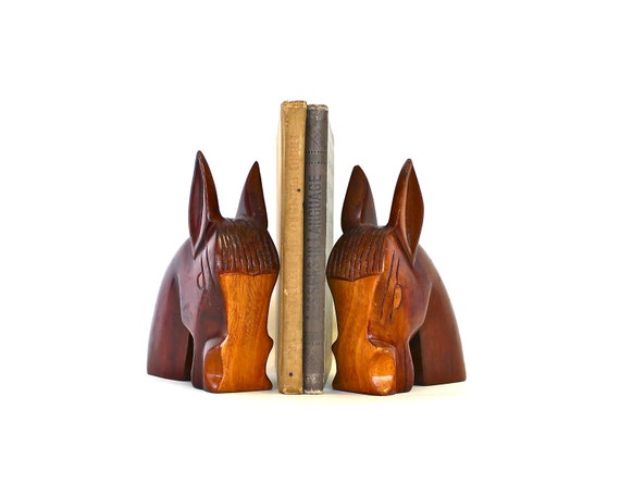 Reserved for Rachel - Keep Your Books in Order - Vintage Mid Century Hand Carved Wooden Horse Bookends