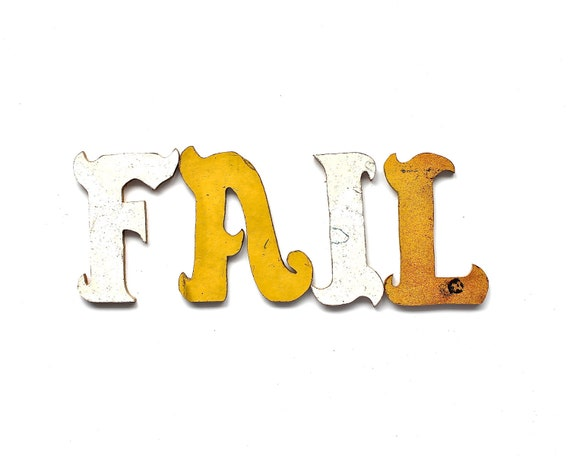 Fail - Vintage Letters - Vintage Hand Cut Pressboard Letters in White and Mustard Yellow