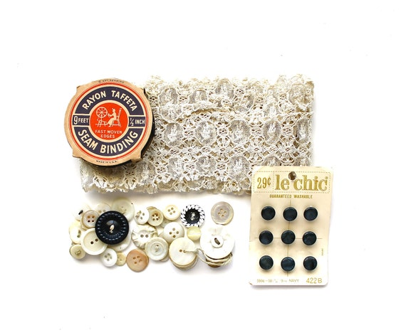 I Scream for Cream - Creamy Antique Lace, Mother of Pearl Buttons, Navy Blue Seam Binding Spool, Etc