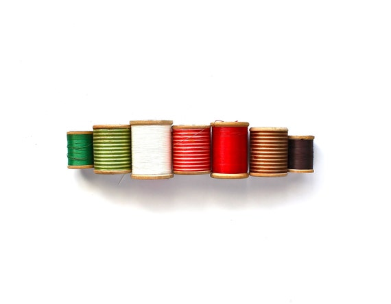 All Spooled Up - Vintage Wooden Spools and Variegated Thread from France