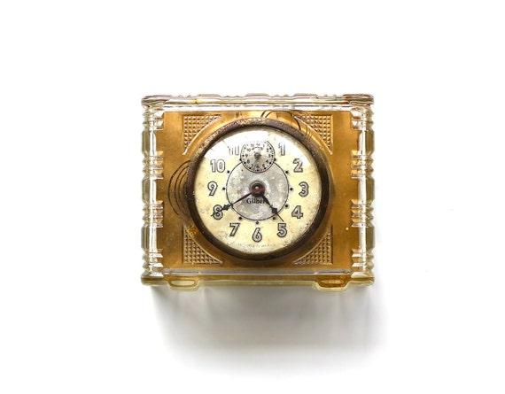 Time Stood Still - Vintage Gilbert Clear Glass Wind Up Alarm Clock