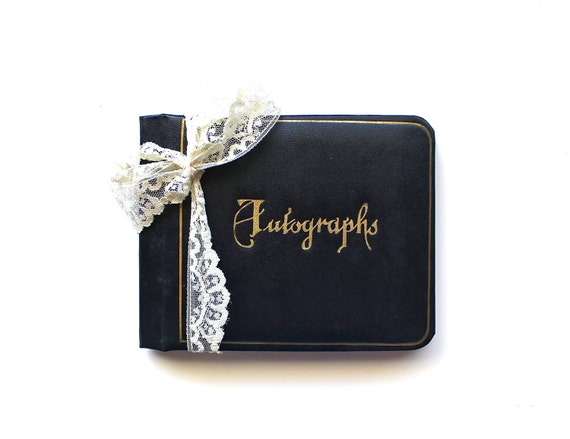 Sign Here - Vintage Autograph Book - Blank Leather Bound Autograph Book