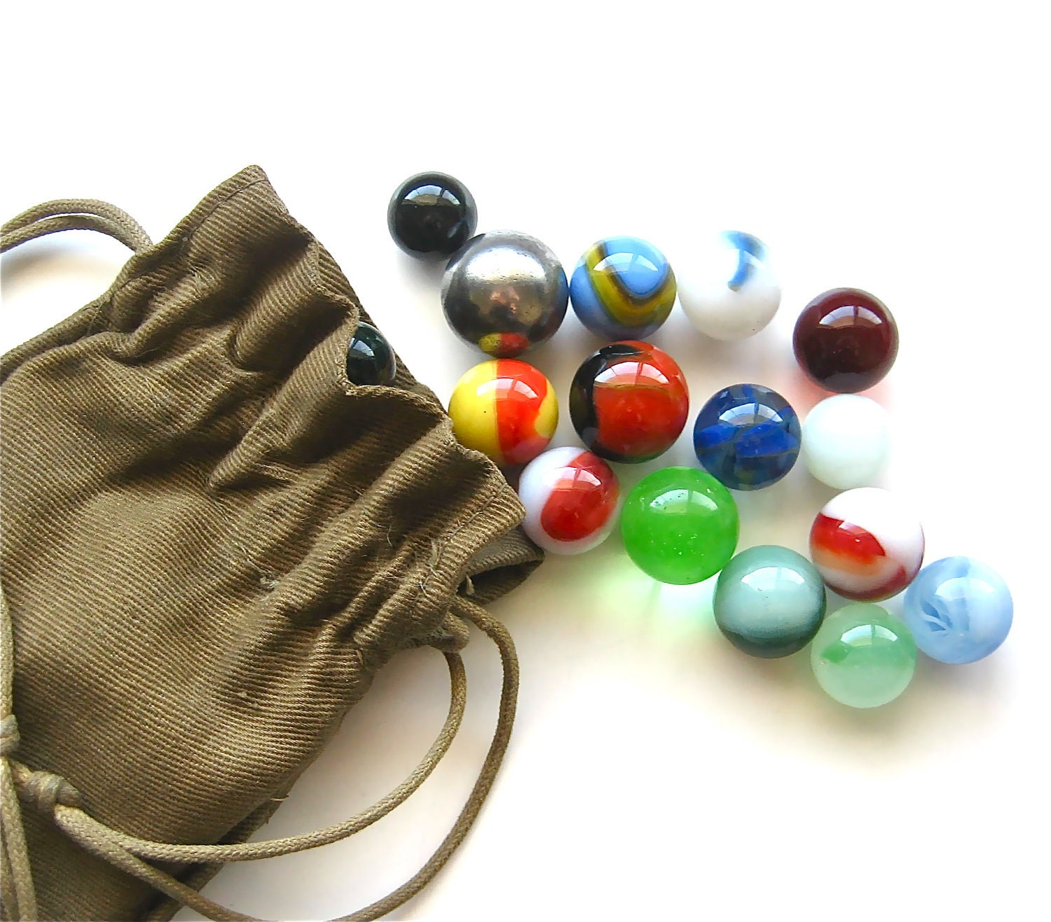 B Is For Bag Of Marbles Vintage Bag Of Glass Marbles