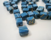 12pcs 4mm x 3mm Square Blue Engraved Beads