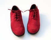 Red Delicious Apple Rockport Nubuck Leather Oxfords W Mini Wedge Sole 8, 7.5. Made In Italy.