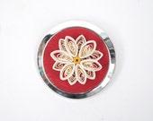 3D Paper Daisy Handmade Red Felt Pin