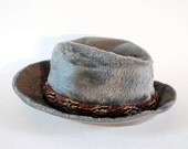 Gray Furry Fedora W Removable Pheasant Feather Round. Made In Italy.