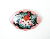 Hand Painted Pink Bouquet Pin. Framed Flowers Decoupage Brooch. Signed.