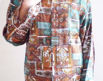 80s Baroque Art Deco Blouse. Soft Metallic Gold Bronze Pumpkin Teal Olive Irish Knot Maze Oxford Shirt.