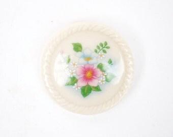 Avon Pink & Blue Blossom Porcelain Pin