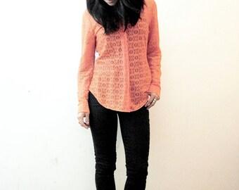 80s New Wave Neon Coral Orange Floral Lace Button Down Oxford Shirt