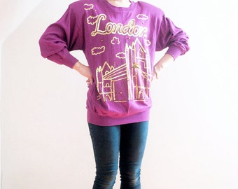 LONDON BRIDGES. 80s NOS W Tags Cloudy London In Gold Sequins Magenta Batwing Sweatshirt.
