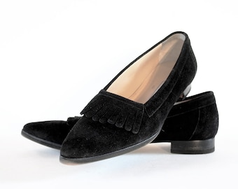 Manolo Blahnik Pointed Toe Fringe Flats In Black Nubuck 8
