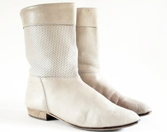 Perforated Tan Leather Short Boots W Stacked Wooden Heels 9, 8.5. Made In Italy.