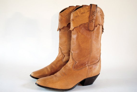Western Cowgirl Boots By Laredo 6, 6.5. Buttery Soft Distressed Golden Butterscotch. Made In USA.