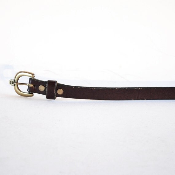 Dark Brown Leather Etienne Aigner Skinny Belt. Extra Small.