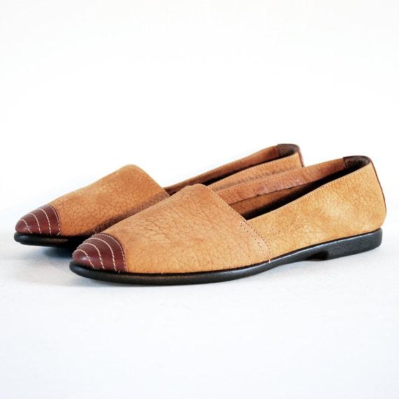 NOS UNISA Soft Cinnamon Nubuck & Leather Target Toe Gummy Sole Flats 6.5, 7. Extra Super Comfy.
