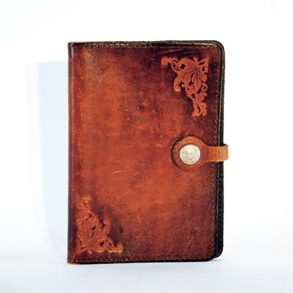 Leather Book Cover Material ~ Tooled leather journal book cover w snap closure