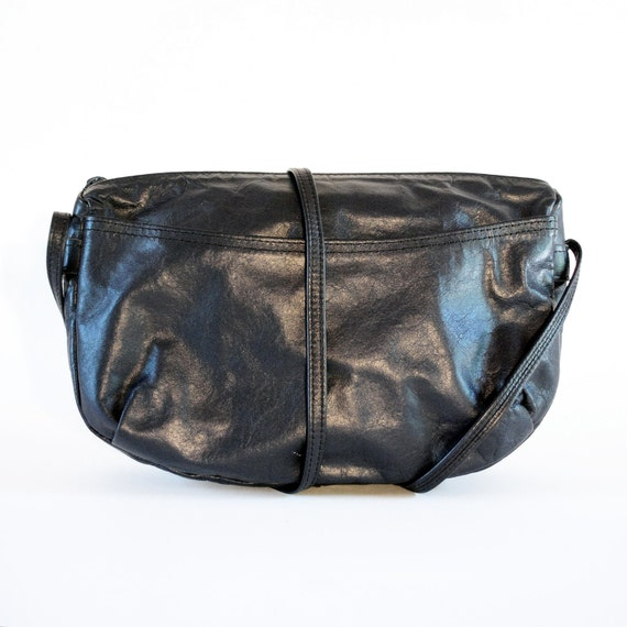 Soft Dark Charcoal Navy Blue Leather Basic Cross Body Bag