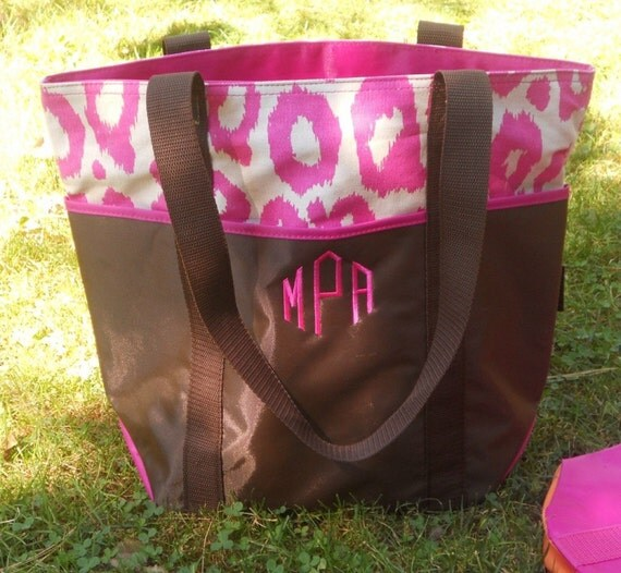 Embroidered Personalized Monogrammed Brown with Animal Print Tote Bag