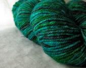 Handpainted Superwash Yarn: Verdigris on Shiva 100% Supermerino Worsted
