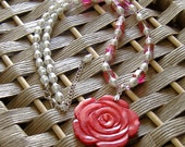 Fuschia Rose Carved Shell, Swarovski Crystals, Glass Pearl Necklace