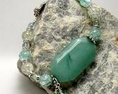 Jade Bracelet with Swarovski Crystals and Crackled Quartz