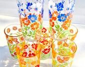 GLASSES / MID CENTURY / Set of 7 Tumblers / Floral Motifs / Vintage