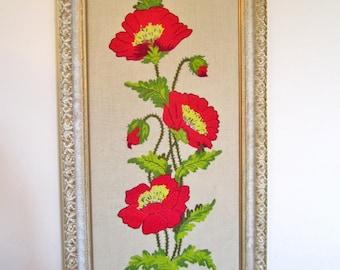 CREWEL EMBROIDERY FRAMED Flowers Needlework Art / Vintage