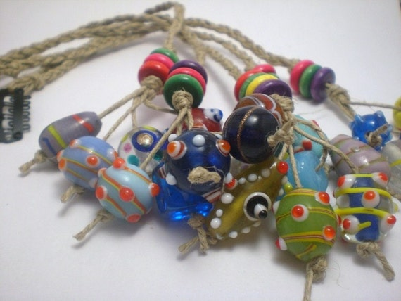 Hemp hair clip lampwork Bead Dreadfall Accessory Barrette