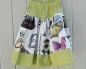 French Botanical and Green Houndstooth Twirly Skirt  Size 3T to 4T