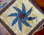 SALE Cornflower Blue Black Eyed Susan Table Runner Quilt