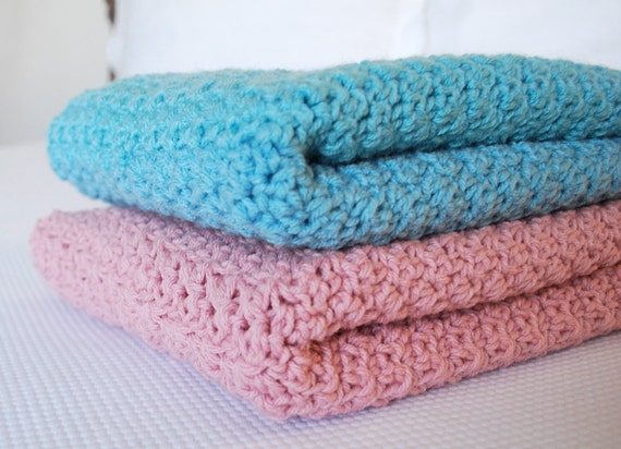 Ready to Ship Soft and Cozy SEA BLUE  Baby Blanket - Beautiful and Luxuriously Handcrafted Crochet blanket