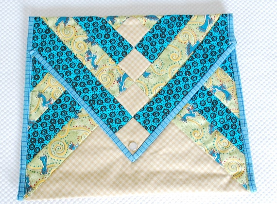 QUILTED Padded  Clutch Bag - beautifully handmade, pearloid snap closure