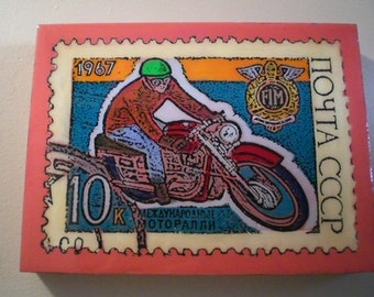 Russian Motorcycle Stamp Painting