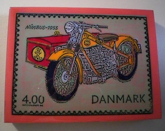 Danish  Motorcycle Stamp Painting