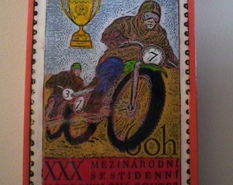 Czech Motorcycle Stamp Painting 2