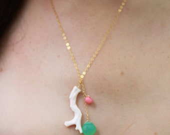 Light Pink Branch Coral Adorned with Sea Foam Chalcedony and Coral Rondell Necklace