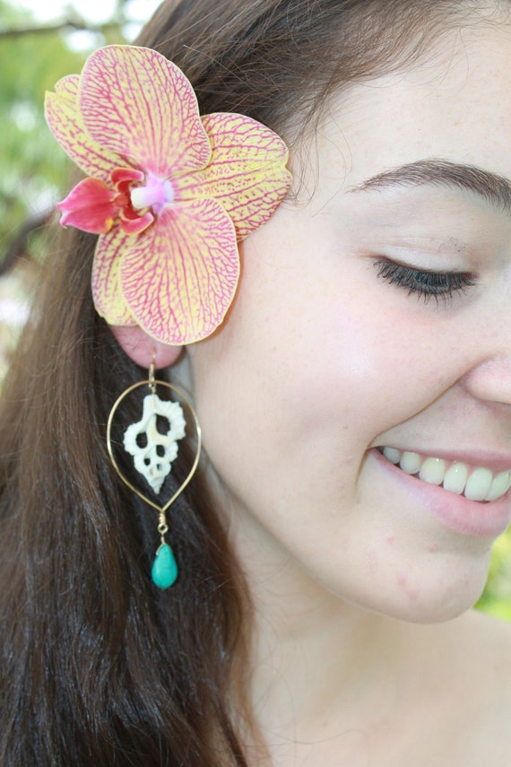 14kt Gold Filled Tear Drop Hoops Adorned with Center Cut Seashell and Howlite Turquoise Briolette