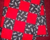 Red & Black Glitter Skeleton Baby-Toddler Quilt